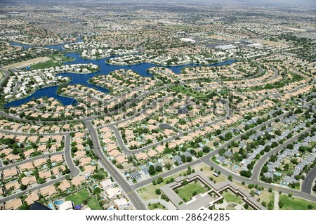 An aerial of city development - stock photo
