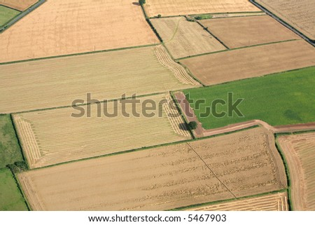 An Aerial photo of small fields in Nottinghamshire England - stock photo