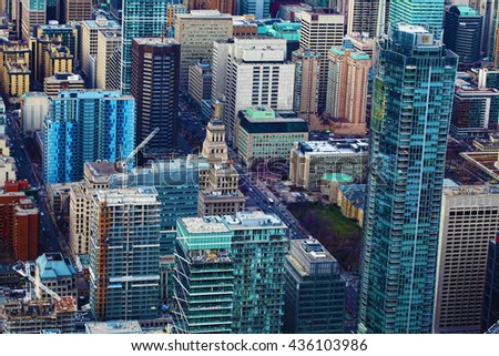 An Aerial view of a cluster of Toronto office buildings - stock photo