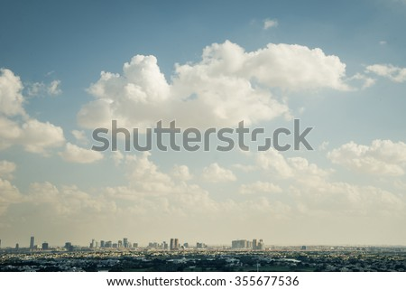 An aerial view of a sprawling residential development in Dubai. - stock photo