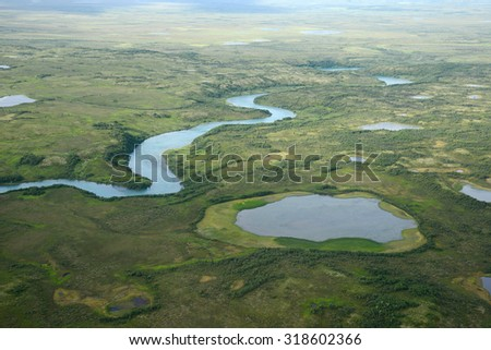 an aerial view of alaska wetland near king salmon