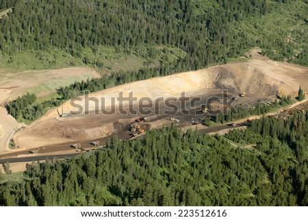 An aerial view of an open pit phosphate mine - stock photo