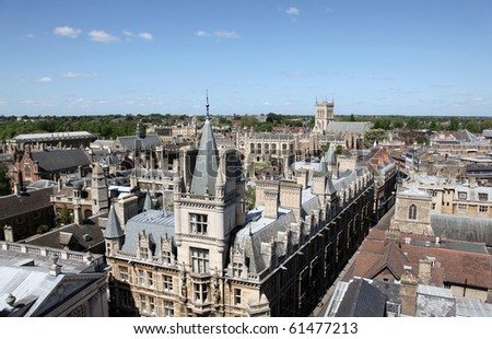 An aerial view of Cambridge's historical buildings -   Cambridge - England
