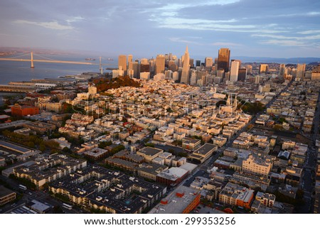an aerial view of downtown san francisco - stock photo