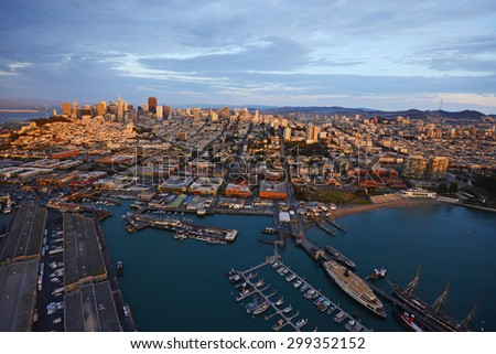 an aerial view of downtown san francisco with pier