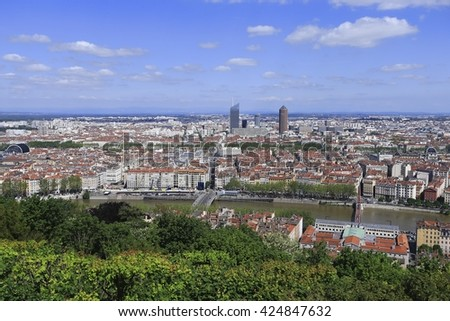 An aerial view of Lyon with blue sky, France - stock photo