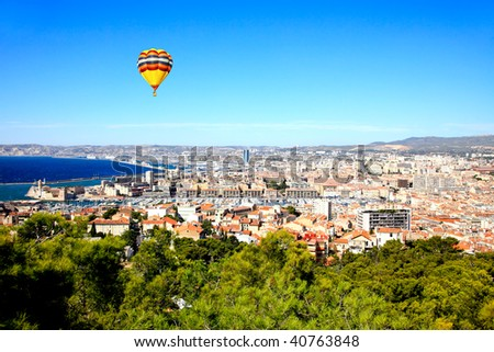 an aerial view of Marseille City and its harbor France - stock photo