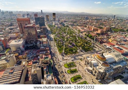 An aerial view of Mexico City and the Palace of Fine Arts - stock photo