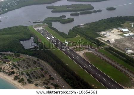 An aerial view of the airport at San Juan, Puerto Rico.