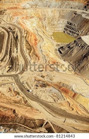 An aerial view of the dikes at an open pit copper mine - stock photo