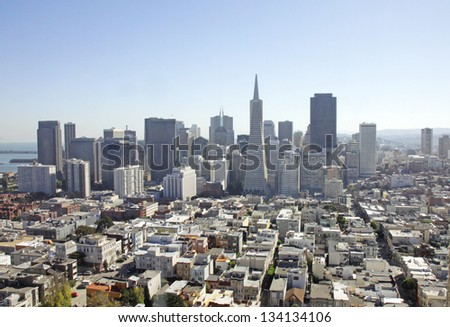 An aerial view of the financial District in San Francisco, USA - stock photo