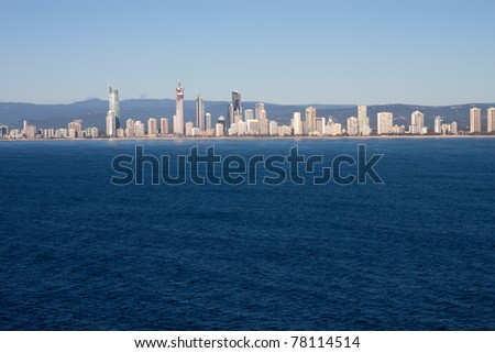 An aerial view of the tourist destination of Surfers Paradise, Gold Coast in Queensland Australia. - stock photo