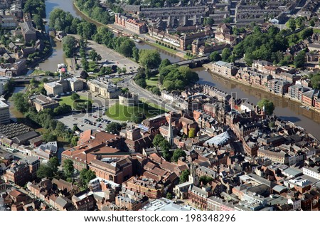 an aerial view of York city centre, UK
