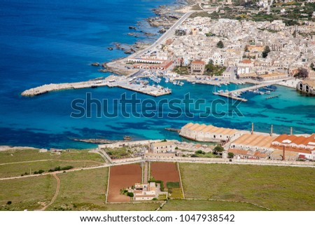 An aerial view on the town of Favignana on the Sicilian island with the same name, Sicily, Italy