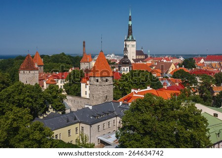 An aerial view over old town of Tallinn, Estonia - stock photo