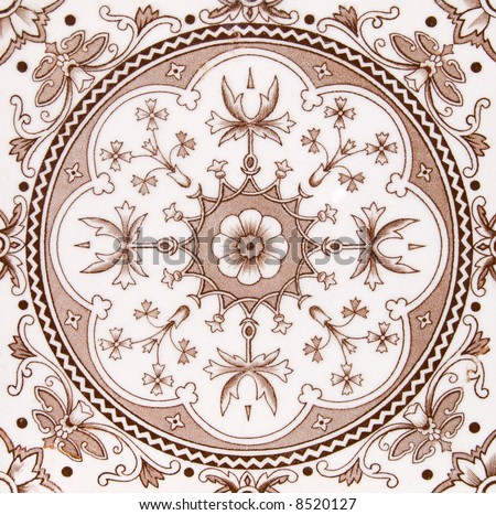 An Aesthetic period original tile dating around 1875 with Islamic design - stock photo
