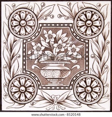 An Aesthetic period original tile dating around 1875 with urn and flowers design - stock photo