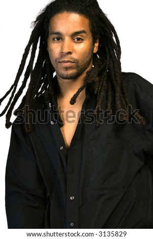 An African American male with dreadlocks. - stock photo