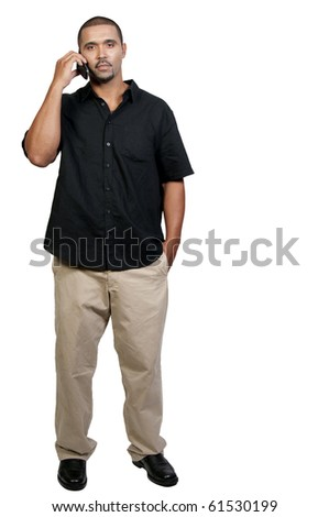 An African American man talking on the phone - stock photo