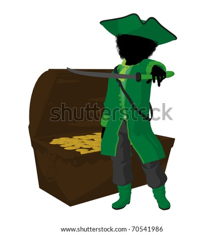 An african american teen pirate with a treasure chest on a white background