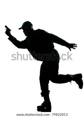 An afro American police man running with a handgun on white isolated background - stock photo