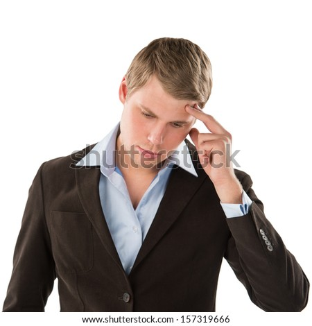 An aggravated businessman trying to keep it together - Isolated on White - stock photo