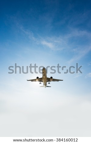 An airplane is taking off from the runway - stock photo