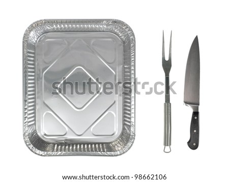 An alfoil baking tray on a white background - stock photo