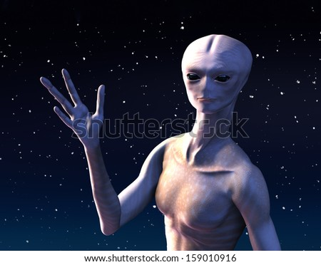 An alien is waving, to offer a friendly greeting from outer space - 3d render. - stock photo
