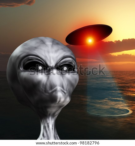 An alien watching the skies for UFOs. - stock photo