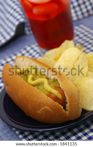 An all american hot dog. - stock photo