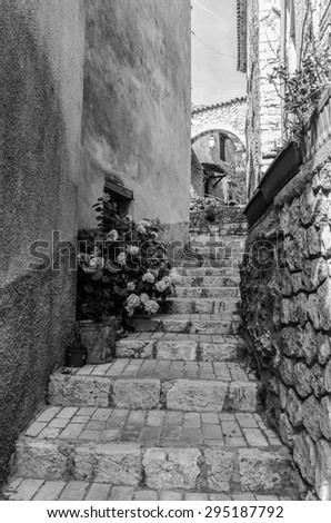 An alley in Aiguines in Provence, France - stock photo