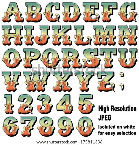 An Alphabet Sit of Carnival, Circus, Funfair, Fishtail Letters and Numbers.