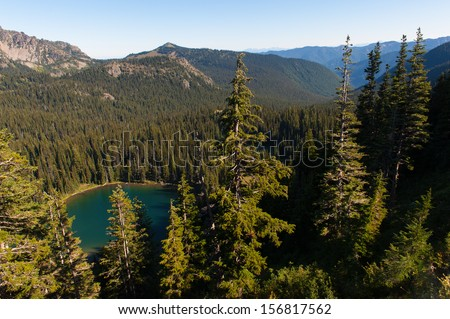 An alpine lake in Mt. Rainier National Park - stock photo