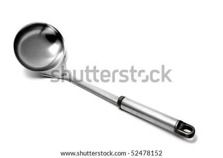an aluminium ladle isolated on a white background - stock photo