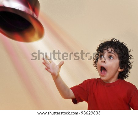 An amazing act performed by a little kid - stock photo