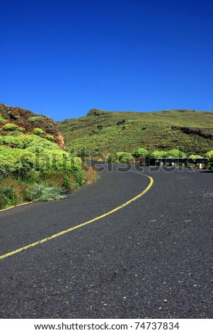 an amazing landscape with a road in the La Gomera, Canary islands, Spain - stock photo