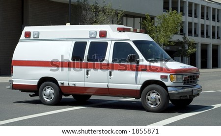 An ambulance on the go. - stock photo