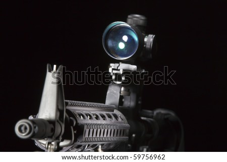 An American AR-15 assault rifle in a studio environment - stock photo