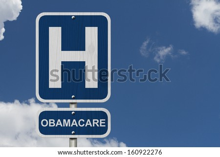 An American blue road sign with a sky background with a capital H and word Obamacare, Hospital and Obamacare - stock photo