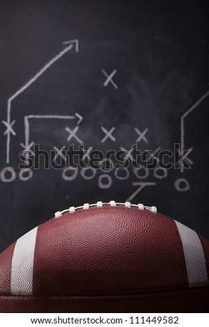 An American football and a hand drawn chalkboard play.
