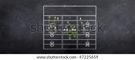 An American football attacking strategy being played out on the blackboard. - stock photo