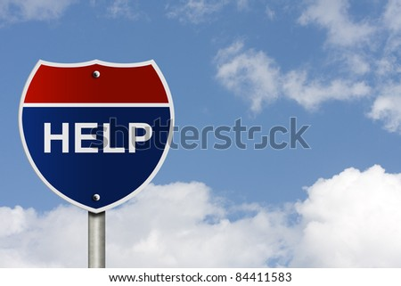 An American interstate road sign with sky background and copy space for your message, The way find help