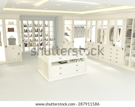 an american luxury walkin closet with many space. 3d rendering - stock photo