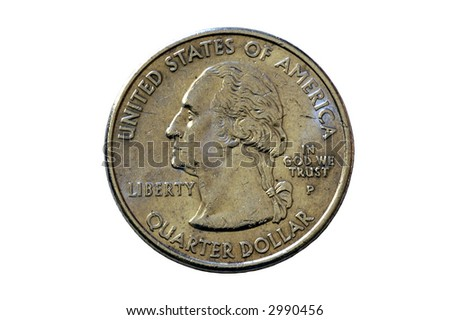 An American quarter isolated on white background - stock photo