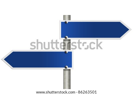 An American road sign isolated on white and copy space for your message - stock photo