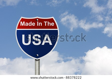 An American road sign with sky background and copy space for your message, Made In The USA - stock photo
