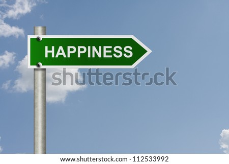 An American road sign with sky background and copy space for your message, Your way to happiness