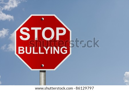 An American road stop sign with sky background and copy space for your message, Stop bullying