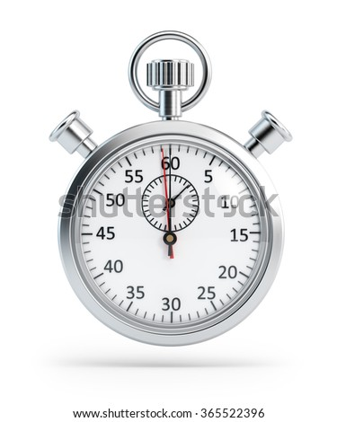 An analog chronometer (or stopwatch) is staying on an isolated white background with clipping path and drop shadow. High resolution 3D rendering for all kind of design purposes.